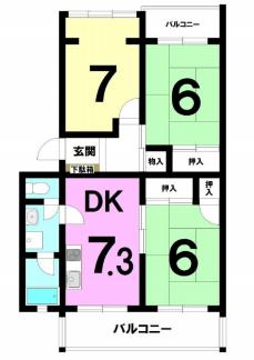 平塚ニューライフ4号棟の間取り