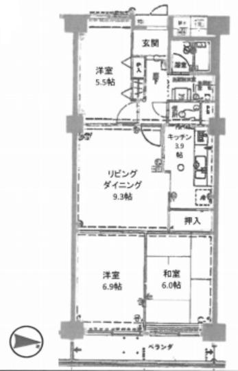 グリーンコーポ東戸塚 B棟の間取り
